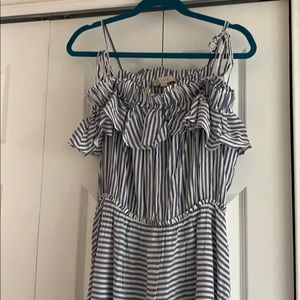 Ann Taylor Loft Sz L blue and white striped dress